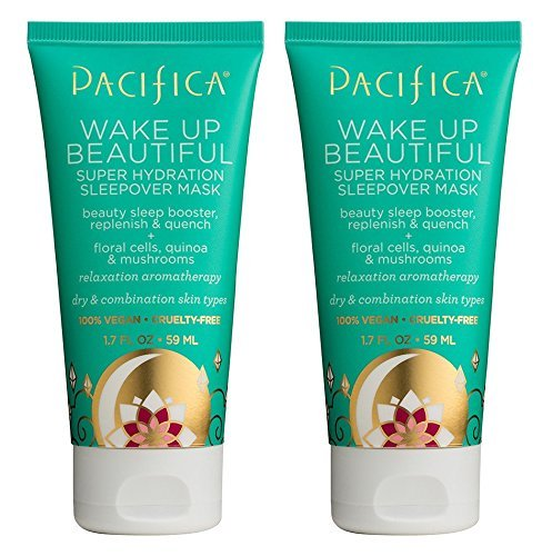 Pacifica Wake Up Beautiful Mask (Pack of 2) with Sunflower Oil, Shea Butter, Avocado Oil, Jasmine Flower Water, Rice Bran Oil, Mushroom Extract and Matricaria Flower, 1.7 oz
