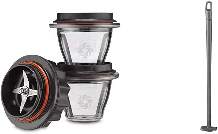 Vitamix Ascent Series Blending Bowl Starter Kit, 8 oz. with SELF-DETECT, Clear - 66196 & Blade Scraper Accessory, Grey