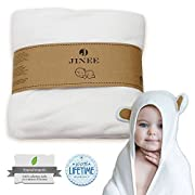 "Jinee Organic Hooded Baby Towel - Ultra Soft Natural Bamboo Towels with Hood for Boy, Girl, Infant, Newborn or Toddlers - Keeps Your Little One Dry & Warm - Hypoallergenic, Antibacterial, 35"" x 35"""