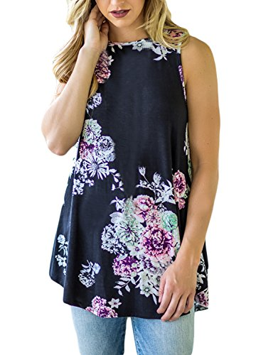 Print High Neck Top (Itsmode Women's Casual Summer Floral Tunics To Wear With Leggings Tank Tops Blouses 2018 Black Plus Size)