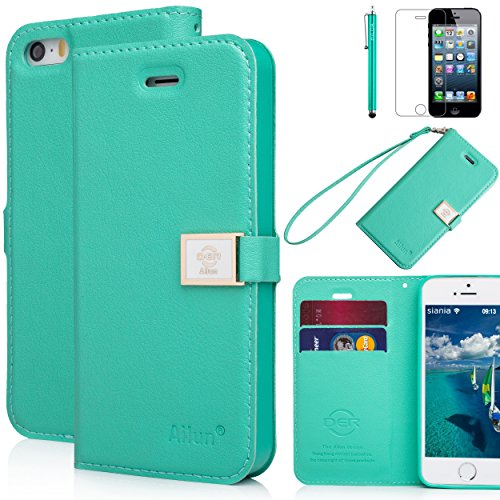 iPhone 5s case,iPhone SE case,iPhone 5 case,by Ailun,Wallet case,PU leather case,credit card holder,Flip Cover Skin[Mint Green] with screen protect and styli pen