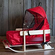 Classic Wooden Deluxe Baby Sled with Cushion and Windshield - Comfortable Back Rest, Reinforcement on the Back of the Skis with Red Polypropylene Cord, Brass Chain Detailing and Clear Coated Finish