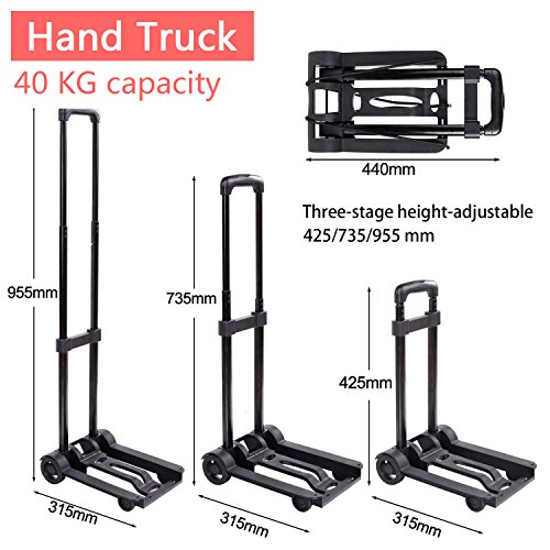 Foldable Trolley (Hand Truck Foldable Dolly Cart Heavy Duty, 40Kg Capacity 3-Stage Height-Adjustable  Collapsible Trolley with Wheels for Luggage, Personal, Travel, Auto, Moving and Office Use (US STOCK))