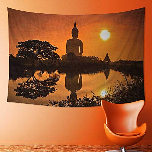 SOCOMIMI Wall Hanging Tapestries Big Giant Statue by The River at Sunset Thai Asian Culture Scene Yin Bedroom Living Room Dorm Decor by SOCOMIMI