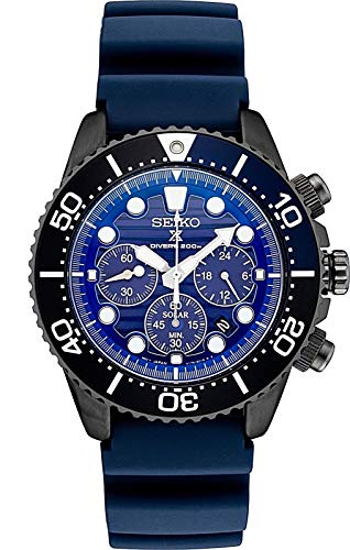 (Seiko Prospex SSC701 Special Edition Blue Silicone Solar Powered Diver's Chronograph Watch)