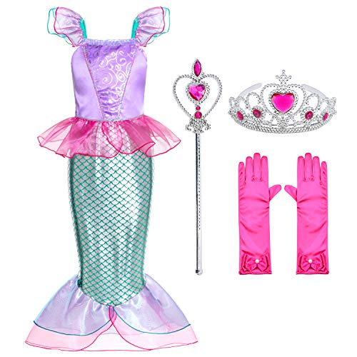 Top Kids Halloween Costumes (Little Mermaid Princess Ariel Costume for Girls Dress Up Party with Gloves,Crown Mace 5-6)