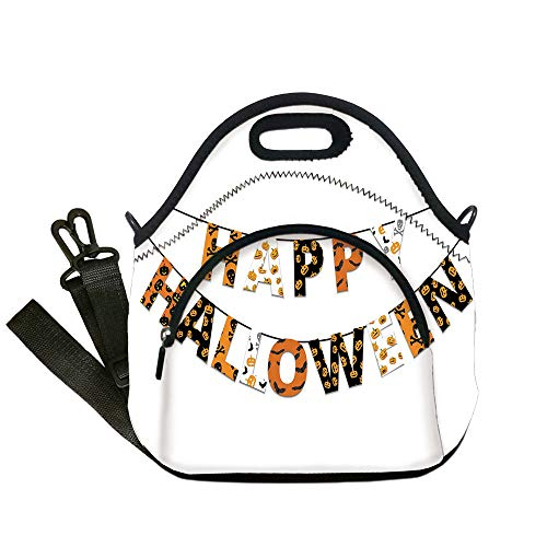Insulated Lunch Bag,Neoprene Lunch Tote Bags,Halloween,Happy Halloween Banner Greetings Pumpkins Skull Cross Bones Bats Pennant Decorative,Orange Black White,for Adults and children -