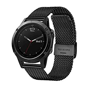 for garmin fenix 5 tloowy milanese stainless steel gps replacement watch band. Black Bedroom Furniture Sets. Home Design Ideas