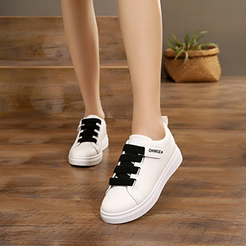Verano un solo Parte GTVERNH mujer zapato de negro de deporte zapatos plana inferior Wild tabla de Zapatos velcro casual zapatos de estudiante wqwItxHU