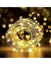 Łańcuch świetlny LED, 12 m, 120 diod LED, wodoszczelność IP65, łańcuch świetlny USB, drut z przełącznikiem, do pokoju, pokoju dziecięcego, na Boże Narodzenie, imprezę, wesele, łańcuch świetlny DIY - ciepła biel