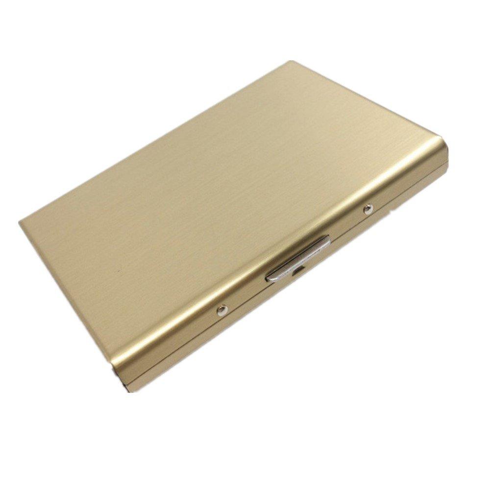 NS VOYAGE Porte Carte de Crédit Ultra Mince en Acier Inoxydable Blocage RFID Porte-Monnaie Rigide (ARGENT)