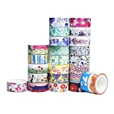 24 Rolls Washi Tape Set - The Theme of nature, 24 different designs about flower and leaves Decorative Masking Tape Collection (15mm Wide)