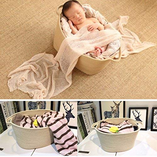 "INDRESSME Extra Large Storage Baskets Cotton Rope Basket Woven Baby Laundry Basket with Handle for Diaper Toy Cute Home Decor Addition Diaper Toy 16.0""x 15.0"