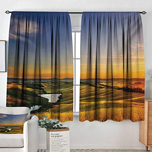 Italian Patterned Drape for Glass Door Magical Photo of Mediterranean Rural in The Valley with a Small Lake Nature Bedroom Blackout Curtains 63