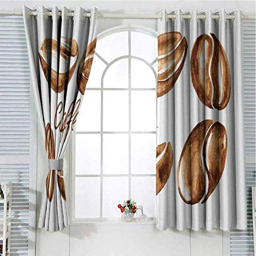 Jinguizi Grommet Window Curtain Blackout Curtain Coffee,Watercolor Effect Beans Breakfast Drink Brush Strokes Pattern Abstract Artistic,Caramel White Curtain Panels 96 x 72 inch