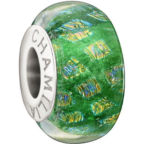 Authentic Chamilia Sterling Silver Murano Glass Opulence Collection Green Charm 2410-0008 (Murano Beads Green Pugster)