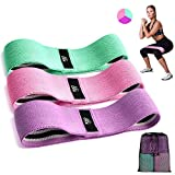CFX Resistance Bands 3 Sets, Premium Exercise Loops with Non-Slip Design for Hips & Glutes, 3 Resistance Level Workout Booty Bands for Women and Men, Best for Home Fitness, Yoga, Pilates (Color: Green,Purple,Pink)