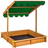 TecTake Sand pit with adjustable roof sun protection outdoor games wooden sandbox - different colours - (Green | No. 402222)