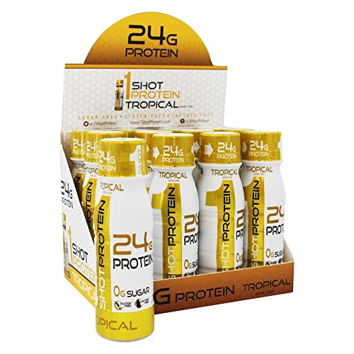 1Shot Protein, Tropical, 24g Protein in a Pocket-Sized Shot, 0g Sugar, 96 Cals, Gluten-Free, Lactose-Free, 3 Fl Oz (Pack of (Spiru Tein Single Packets)