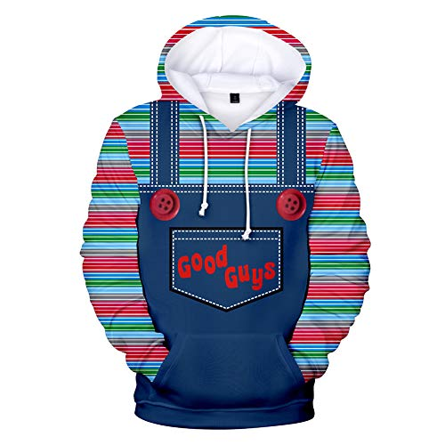 Xiao Maomi Chucky Cosplay Hoodie Jacket Coat Costume 3D Print Zipper Pullover Sweatshirt for Adult Halloween Outfit (M, Color 2) -