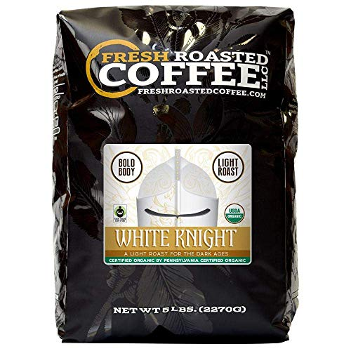 Fresh Roasted Coffee LLC, White Knight Organic Coffee, Artisan Blend, Light Roast, Fair Trade, USDA Organic, Mild Body, Whole Bean, 5 Pound Bag