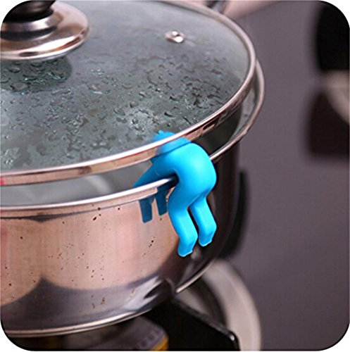 2 Pcs Funny Villain Raise Lid Prevents Soup Pot Overflow Tools Kitchen Holder (Blue)