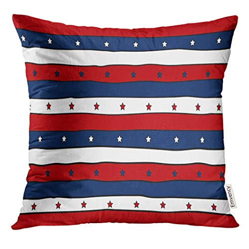 (Golee Throw Pillow Cover Flag Red White and Blue Striped Patriotic with Stars Abstract Design for 4Th America Decorative Pillow Case Home Decor Square 18x18 Inches Pillowcase)