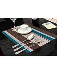 amorus washable placemats heat insulation non slip table mats for kitchen dining set of 6 blue - Kitchen Table Mats