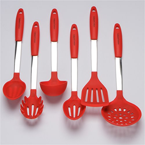 Red Kitchen Utensil Set - Stainless Steel & Silicone Heat Resistant Cooking Tools - Ladle, Spatula, Mixing & Slotted Spoon, Pasta Fork Server, Drainer - Bonus Ebook!
