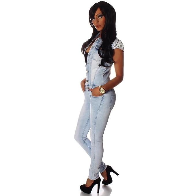4980 Fashion4Young Damen Jeans Overall Hosenanzug mit kurzen
