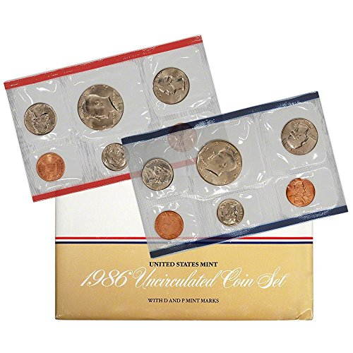 1986 Various Mint Marks P & D United States US Mint 10 Coin Uncirculated Mint Set Uncirculated ()