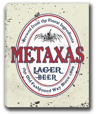 metaxas-lager-beer-stretched-canvas-sign-16-x-20