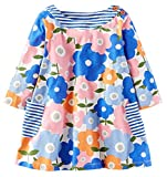 Fiream Girls Cotton Longsleeve Pocket Dresses Special Occasion Cartoon Print by (1026TZ,6T/6-7YRS)