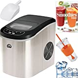 Igloo Compact Portable Ice Maker (Stainless Steel) Plus Smoothie Bible Bundle – ICE102ST For Sale