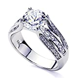 Platinum Plated Sterling Silver 2ct Round CZ Unique Design Wedding Engagement Ring ( Size 5 to 9 ), 6