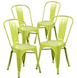 Modern Vintage Metal Stackable Dining Chair with Backs Set of 4 Industrial Tolix Kitchen Chair Matt Apple Green