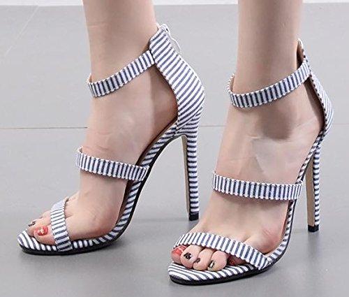ZHUDJ Peep Toe Heels Zapatos Palabra Peep Toe Heels Sandalias,Blue,44 Forty|blue