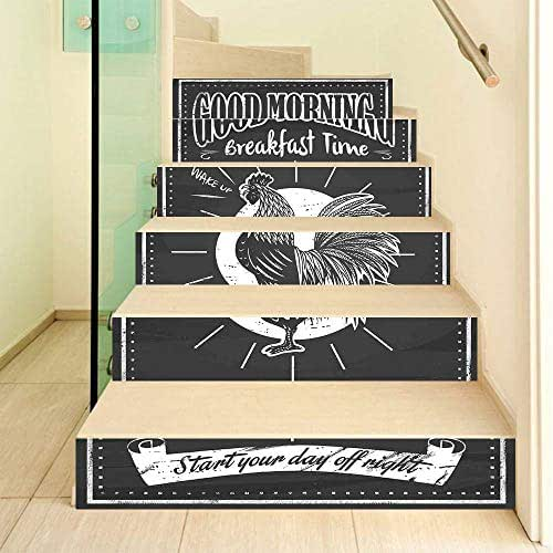 Kitchen Decor 3D Stair Stickers Decals-6Pcs/Set,Chalkboard Kitchenware Menu Art Morning Rooster Retro Style Cafe Home Design Utensils Stair Risers Stickers Removable Staircase Decals Mural Wallpaper f