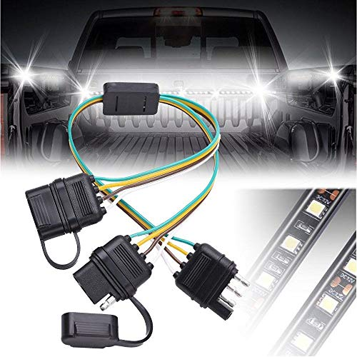 GTP Flat 4 Pin Y-Splitter Adapter Trailer Extension Harness Connector with Dust Caps For LED Tailgate Light Bar Trailers, Accessory, Towing, Safety Lighting