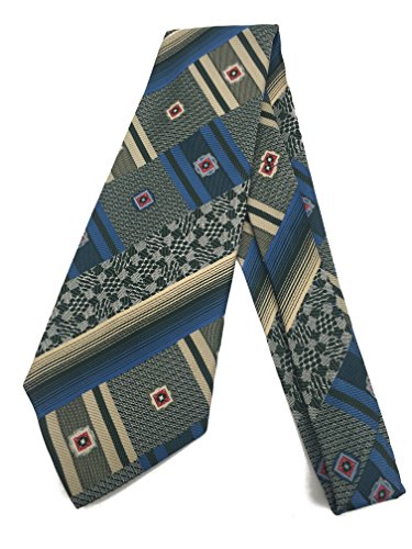 (Paisley Abstract Vintage Tie - Jacquard Weave Wide Kipper Necktie Blue)