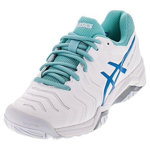 ASICS Women's Gel-Challenger 11 Tennis Shoe, White/Diva Blue/Aqua Splash, 9 M US