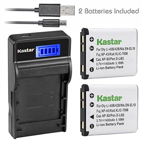 Kastar Battery (X2) & SLIM LCD Charger for Fujifilm NP-45, Nikon EN-EL10, Olympus LI-42B LI-40B, Kodak KLIC-7006 K7006, Casio NP-80 CNP80, D-Li63, D-Li108, Ricoh DS-6365 Battery.