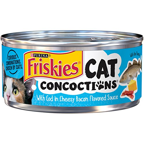 Purina Friskies Cat Concoctions With Cod In Cheesy Bacon Flavored Sauce Adult Wet Cat Food – (24) 5.5 Oz. Cans Review