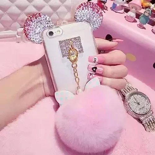 - iPhone 7 Plus Case,iPhone 7 Plus Mouse Ears Case,Lovely Cartoon Mouse Ears Clear Soft TPU Slim Crystal Rhinestone Luxury Bling Diamond Phone Case Cover For iPhone 7 Plus,Polka Dot Ribbon Ball