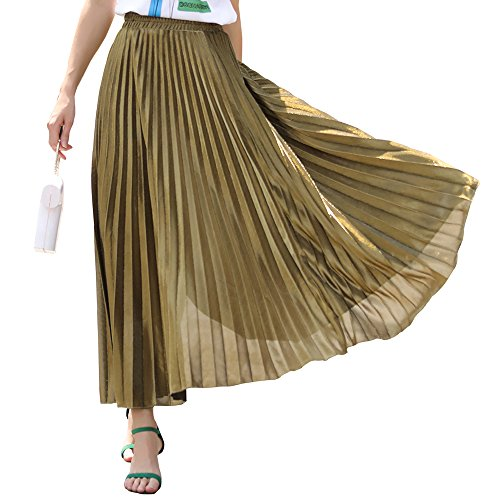 Women's Premium Metallic Shiny Shimmer Accordion Pleated Long Maxi Skirt(A001Gold-L) ()