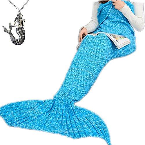 CZL Christmas Gift Knitted Mermaid Tail Blankets for Adults Teens Sleeping Bags Crochet Blanket Super Soft Sleeping Blankets (71
