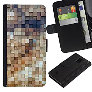 iBinBang / Flip Funda de Cuero Case Cover - Wall Art Structure Wood Design - Samsung Galaxy S5 Mini, SM-G800, NOT S5 REGULAR!