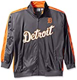 MLB Detroit Tigers Men's Team Reflective Tricot Track Jacket, 5X, Charcoal/Orange
