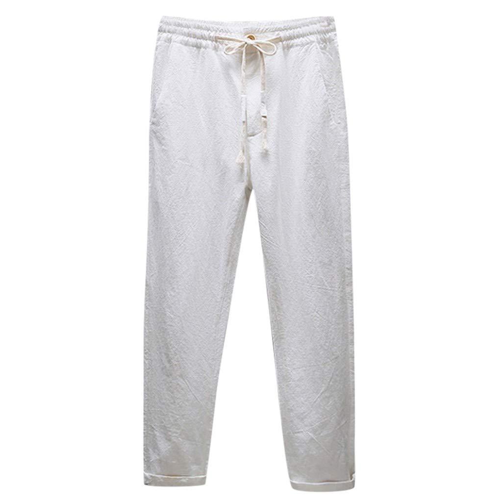 AG&T Pantalones Hombre Verano Pantalones de Lino Sueltos Pantalón ...