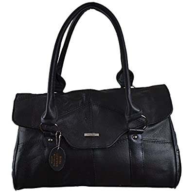 Ladies Leather Shoulder Bag / Handbag with Folder Over Flap and ...